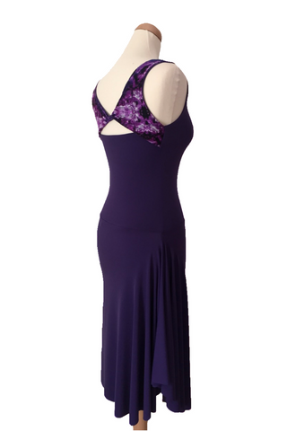 Purple argentine tango dress with tulle details and rich side draping