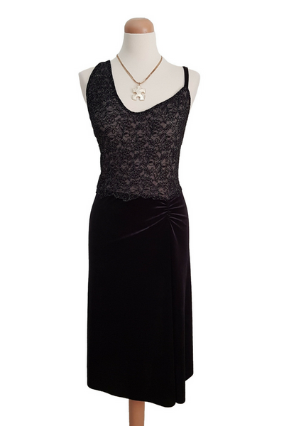 Black Sexy Velvet/Lace Tango Dress