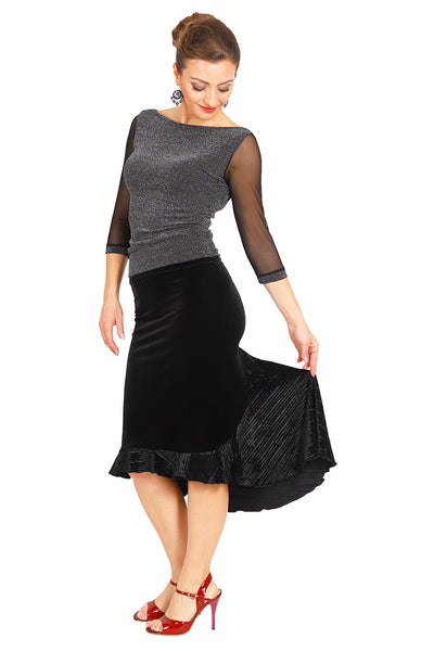 Lamé Tango Top With Tulle Sleeves