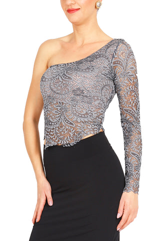 One-shoulder Gray Lace Tango Top