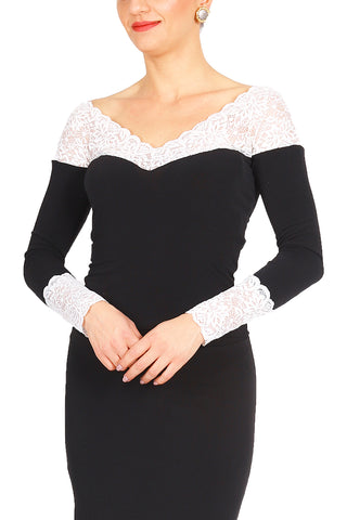 Long Sleeved Top with Lace Details