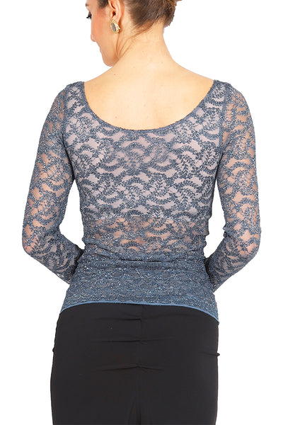 Petrol Blue Lamé Lace Blouse