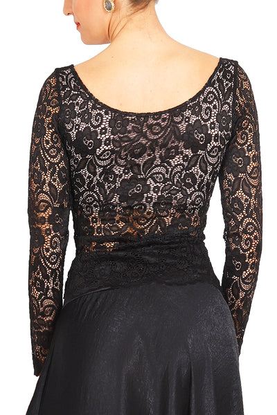 Black Lace Tango Top With Lining