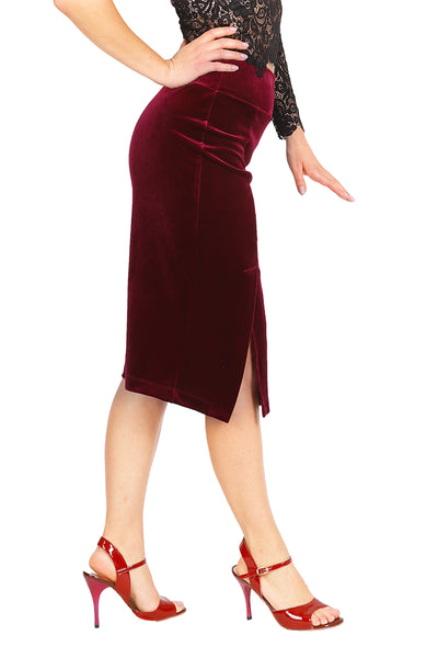 Burgundy Pencil Velvet Tango Skirt with Slits