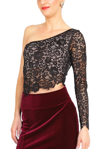 One-shoulder Black Lace Tango Top