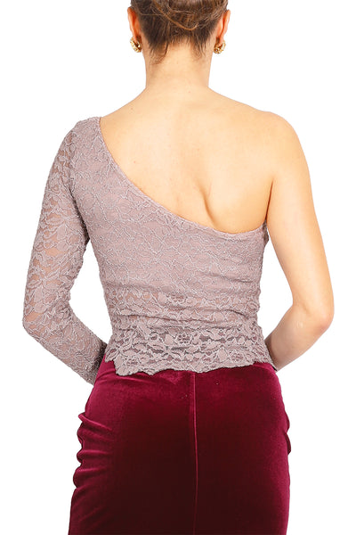 One-shoulder Elephant Gray Lace Tango Top