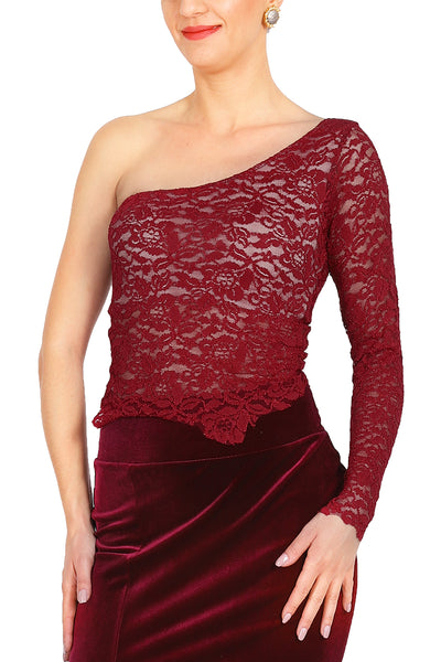 One-shoulder Burgundy Lace Tango Top