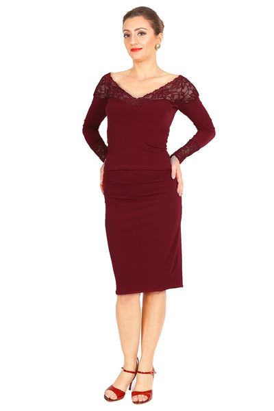 Burgundy Tango Top With Lace Décolletage