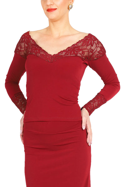 Red Tango Top With Lace Décolletage