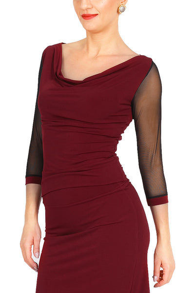 Burgundy Tango Top With Tulle Sleeves