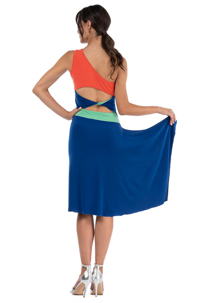 Velvet Tango Dance Dress With Round Skirt
