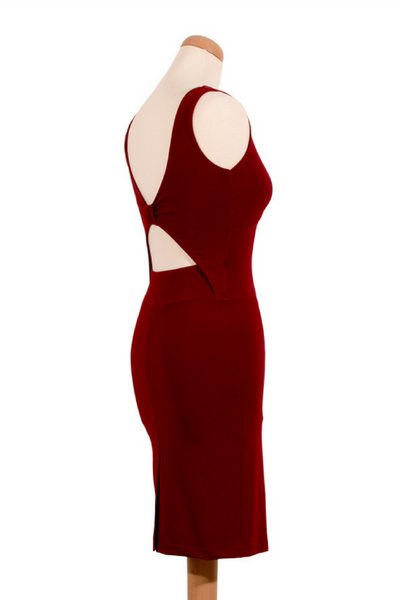 Linda Tango Dress with Bow Style Back - Burgundy