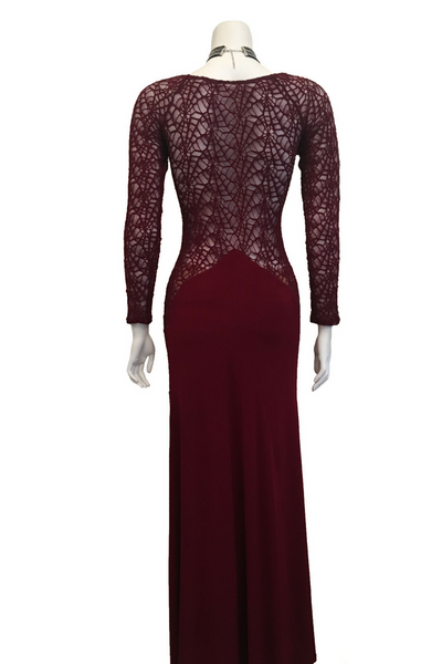 Burgundy Maxi Dress with Lace Sides