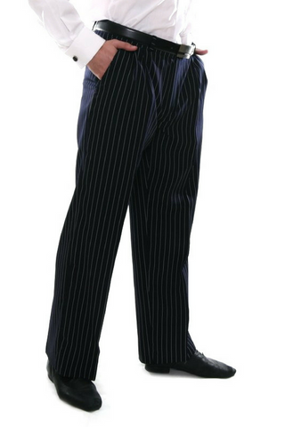 Men's dark blue tango pants with regular white stripes