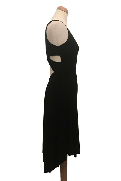 Black tango dress with crisscross back and rich back draping