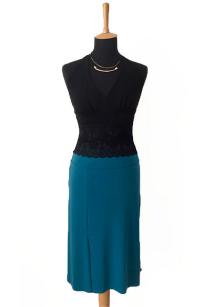 black Tango Skirt with Panel & blue Ruffled Top