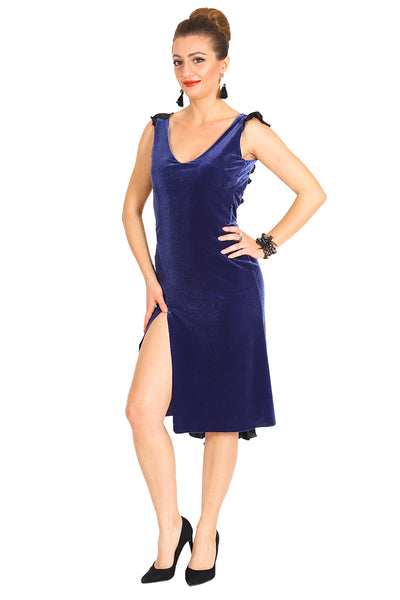Electric Blue Velvet Argentine Tango Dress