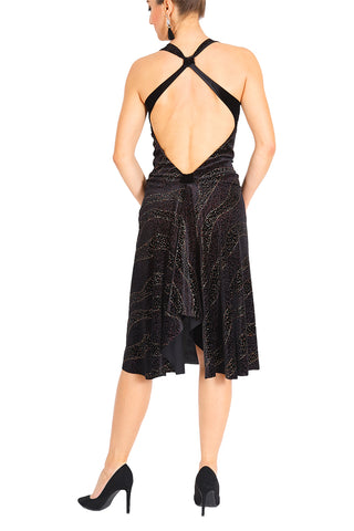 Black Velvet Tango Dress With Open Back
