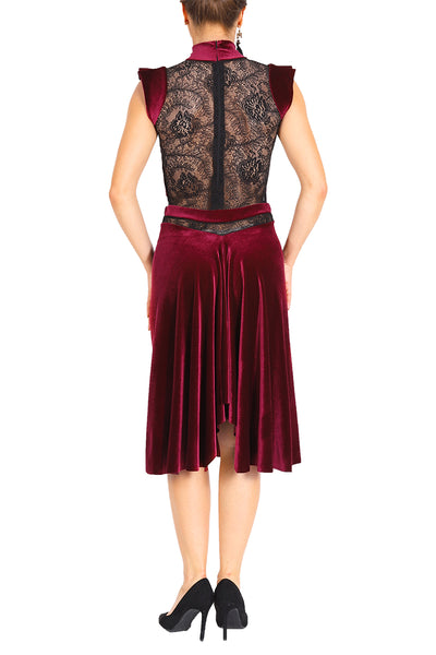 Burgundy Velvet Tango Dance Dress