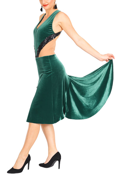 Forest Green Velvet Dress For Milonga and Show