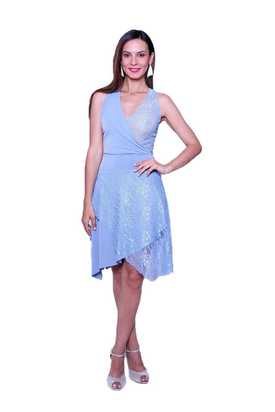 Light blue wrap effect tango dress with lace