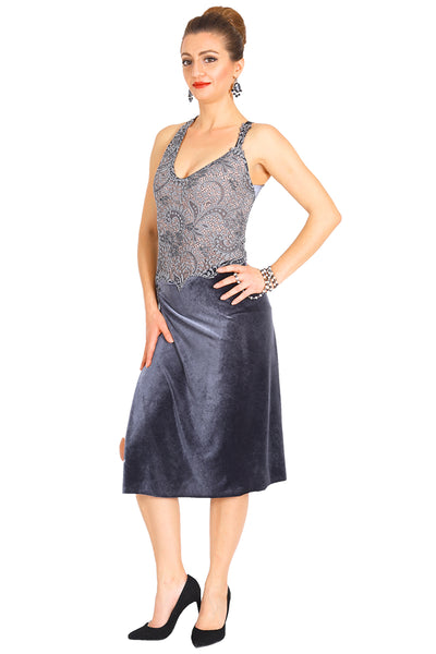 Gray velvet tango dress with lace