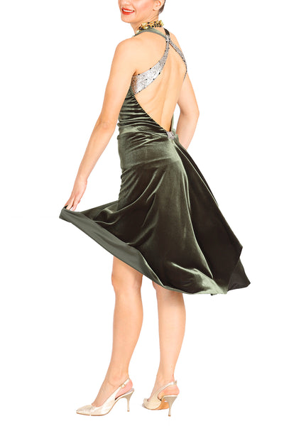 Olive green velvet milonga dress with open back