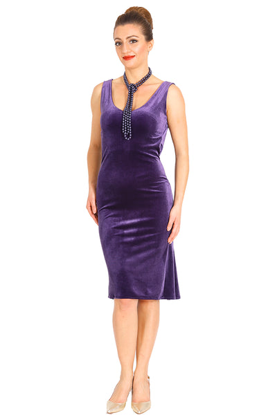 Purple velvet tango dress with draped back