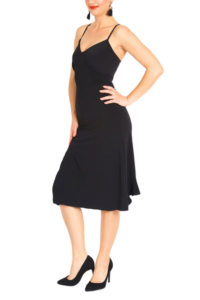 Black Lace-up Milonga Dress
