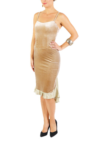 Golden Champaign Velvet Fishtail Tango Dress