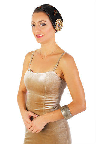 Brown Velvet Headpiece with Gold Crystals