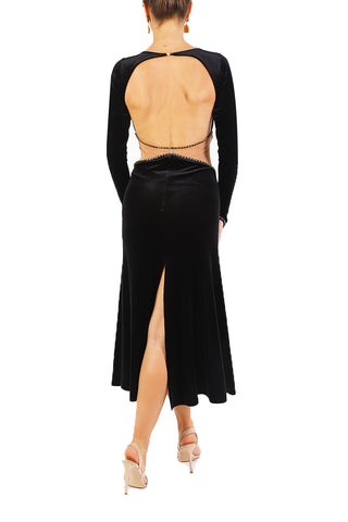 Black Velvet Tango Performance Dress For Shows & Festivals
