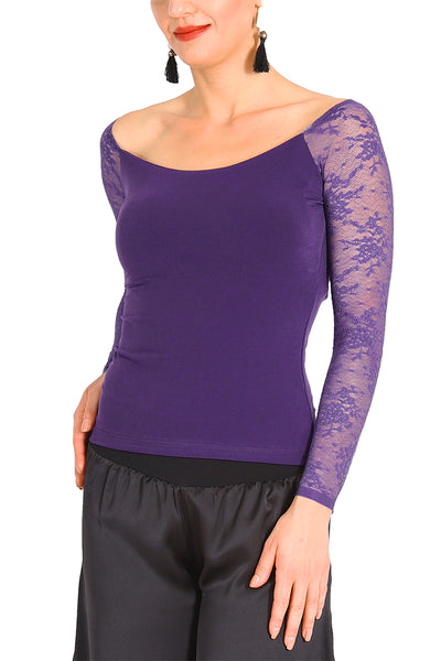 Purple Tango Top With Lace Long Sleeves