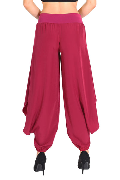 Dark Fuchsia Satin Tango Pants For Milonga