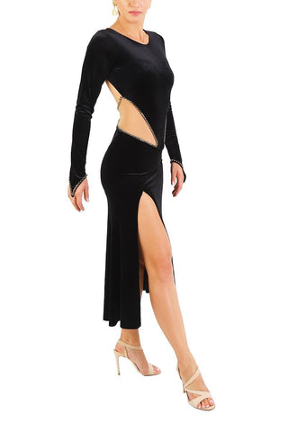 Black Velvet Tango Performance Dress With Long Sleeves
