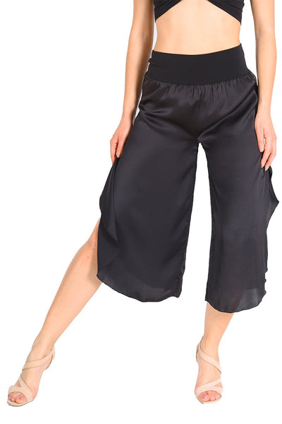 Black Silk-touch Satin Tango Pants For Milonga