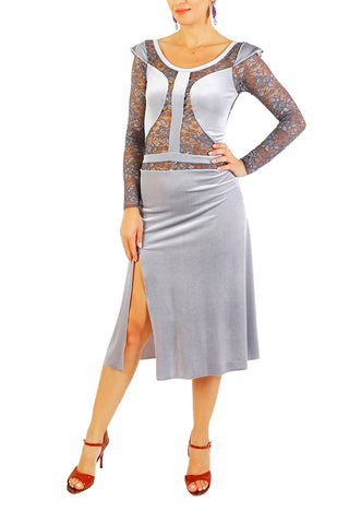 Gray Velvet Tango Dress With Lace Details