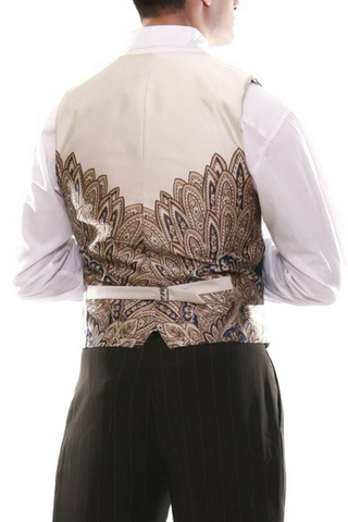Men's brown tango vest with regular thin white stripes & beige satin back