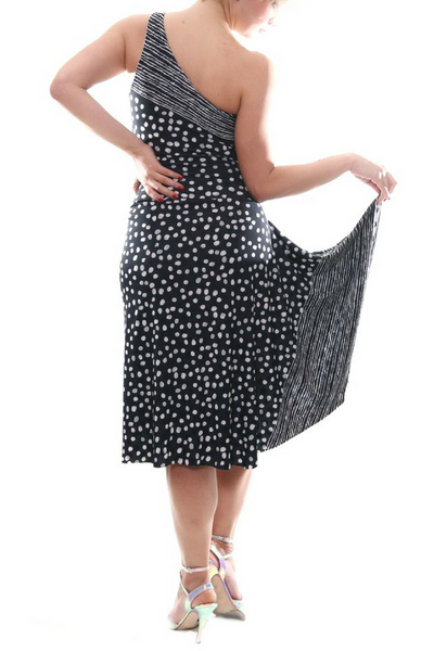 Black and white polka dot tango dress