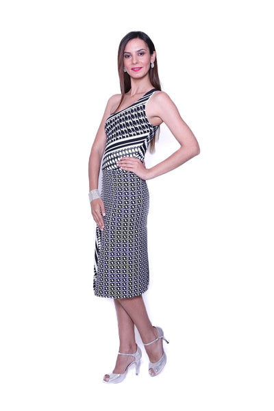 conDiva Black and White Jersey One-shoulder Tango Dress