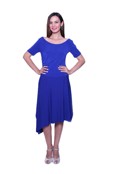 conDiva Blue Long-sleeve Tango Dress with Side Draping | Comfortable Tango Dresses