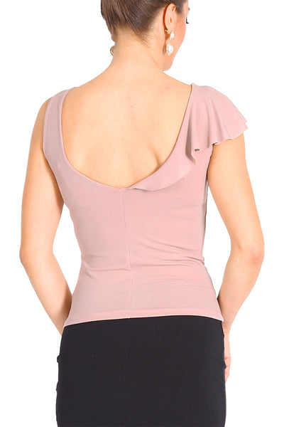 Nude Pink Jersey Tango Top with Ruffles