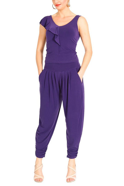 Harem Style Tango Pants with Pleated Front - Purple