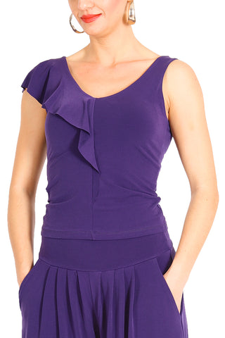 Purple Jersey Tango Top with Ruffles