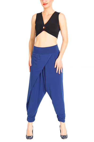 Modern harem style tango pants with wrap front - Electric blue