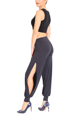 Gray Babucha Tango Pants with Slits