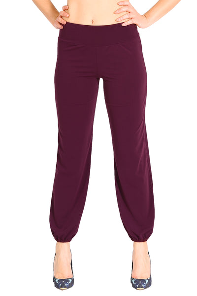 Eggplant Gathered Tango Pants Without Slits