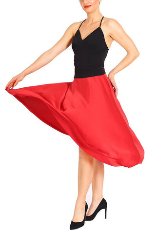 Red Satin Long Tango Skirt