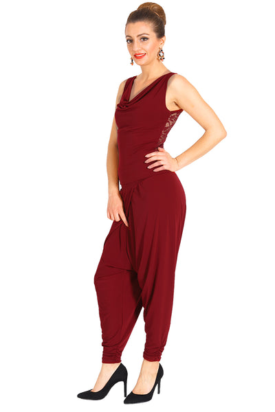Modern harem style tango pants with wrap front - Burgundy