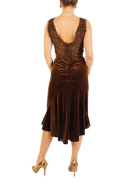 Brown Velvet Tango Dress with Lace Details